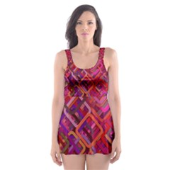 Pattern Background Square Modern Skater Dress Swimsuit