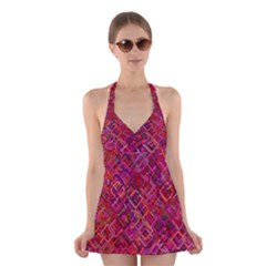 Pattern Background Square Modern Halter Dress Swimsuit