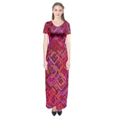 Pattern Background Square Modern Short Sleeve Maxi Dress