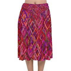 Pattern Background Square Modern Velvet Flared Midi Skirt