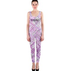 Pink Modern Background Square Onepiece Catsuit