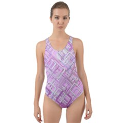 Pink Modern Background Square Cut Out Back One Piece Swimsuit