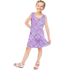 Pink Modern Background Square Kids  Tunic Dress
