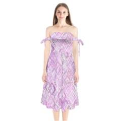 Pink Modern Background Square Shoulder Tie Bardot Midi Dress