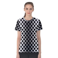 Square Diagonal Pattern Monochrome Women s Cotton Tee
