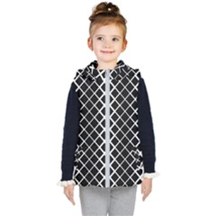 Square Diagonal Pattern Monochrome Kid s Puffer Vest