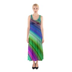 Motion Fractal Background Sleeveless Maxi Dress