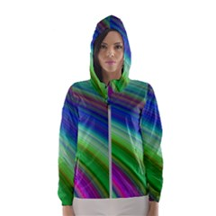 Motion Fractal Background Hooded Wind Breaker (women)