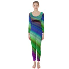Motion Fractal Background Long Sleeve Catsuit