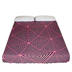 Purple Triangle Background Abstract Fitted Sheet (queen Size)