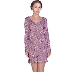 Purple Triangle Background Abstract Long Sleeve Nightdress
