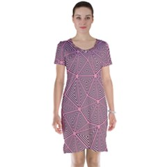 Purple Triangle Background Abstract Short Sleeve Nightdress