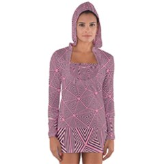 Purple Triangle Background Abstract Long Sleeve Hooded T Shirt
