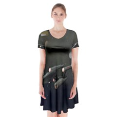 Space Travel Spaceship Space Short Sleeve V Neck Flare Dress