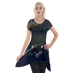 Space Travel Spaceship Space Short Sleeve Side Drop Tunic