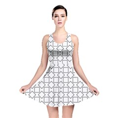 Square Line Stripe Pattern Reversible Skater Dress