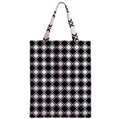 Square Diagonal Pattern Seamless Zipper Classic Tote Bag