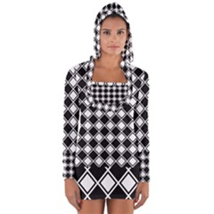 Square Diagonal Pattern Seamless Long Sleeve Hooded T Shirt