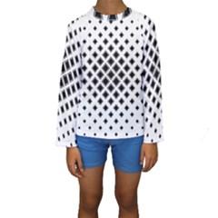Square Pattern Monochrome Kids  Long Sleeve Swimwear
