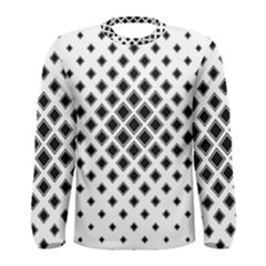Square Pattern Monochrome Men s Long Sleeve Tee