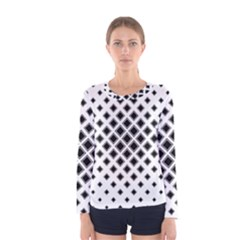 Square Pattern Monochrome Women s Long Sleeve Tee