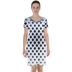 Square Pattern Monochrome Short Sleeve Nightdress