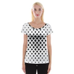 Square Pattern Monochrome Cap Sleeve Tops