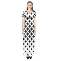 Square Pattern Monochrome Short Sleeve Maxi Dress