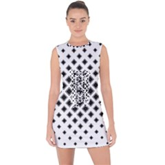 Square Pattern Monochrome Lace Up Front Bodycon Dress