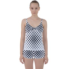 Square Pattern Monochrome Tie Front Two Piece Tankini