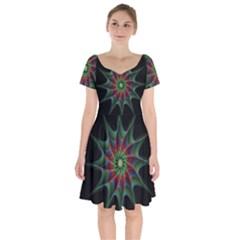 Star Abstract Burst Starburst Short Sleeve Bardot Dress