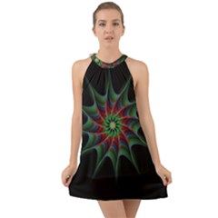 Star Abstract Burst Starburst Halter Tie Back Chiffon Dress