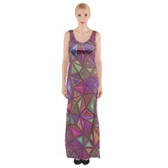 Triangle Background Abstract Maxi Thigh Split Dress