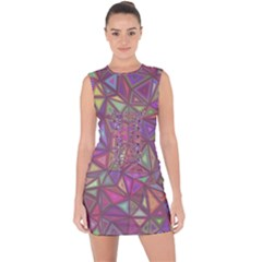 Triangle Background Abstract Lace Up Front Bodycon Dress