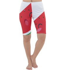 Watermelon Red Network Fruit Juicy Cropped Leggings