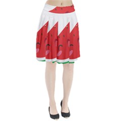 Watermelon Red Network Fruit Juicy Pleated Skirt