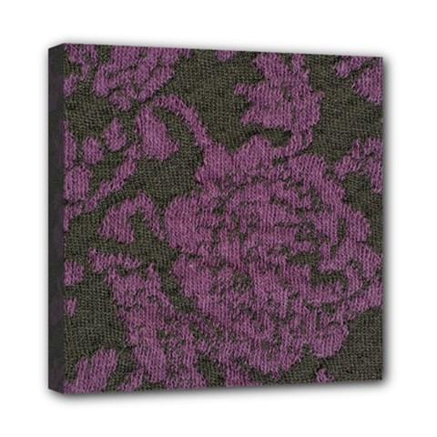 Purple Black Red Fabric Textile Mini Canvas 8  X 8