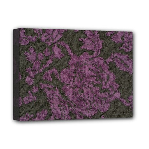 Purple Black Red Fabric Textile Deluxe Canvas 16  X 12