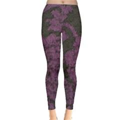 Purple Black Red Fabric Textile Leggings