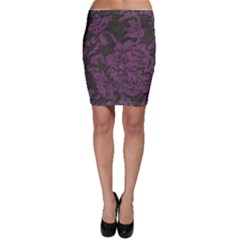 Purple Black Red Fabric Textile Bodycon Skirt