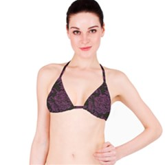 Purple Black Red Fabric Textile Bikini Top