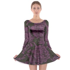 Purple Black Red Fabric Textile Long Sleeve Skater Dress