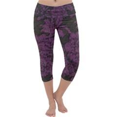 Purple Black Red Fabric Textile Capri Yoga Leggings