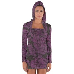 Purple Black Red Fabric Textile Long Sleeve Hooded T Shirt