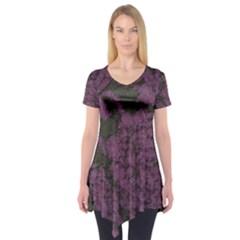 Purple Black Red Fabric Textile Short Sleeve Tunic