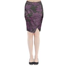 Purple Black Red Fabric Textile Midi Wrap Pencil Skirt
