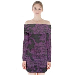 Purple Black Red Fabric Textile Long Sleeve Off Shoulder Dress