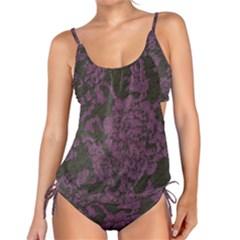 Purple Black Red Fabric Textile Tankini Set