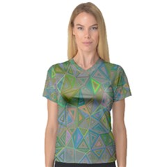 Triangle Background Abstract V Neck Sport Mesh Tee