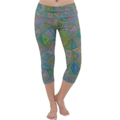 Triangle Background Abstract Capri Yoga Leggings